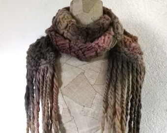 Chunky long scarf, women's hand knit art scarf, Knitted woman scarf, soft tone warm scarf, fringed wool scarf boho, women's holiday gift