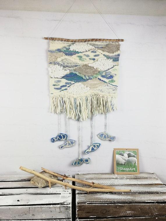 Large woven wall hanging wool decor fish marine colors sea | Etsy