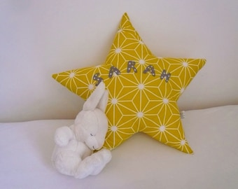 Star pillow personalized with name in embroidered letters applied