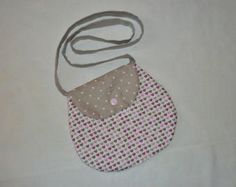 Small bag girl form ball, model hearts pink and taupe / beige polka dot