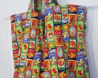 Tote Bag - Retro fruit & vegetable print