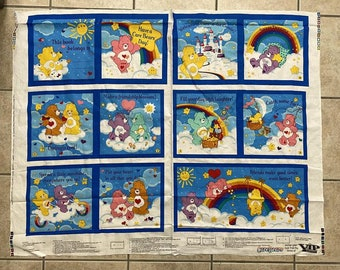 for making a soft fabric book Cotton fabric panel Have a Care Bears Day