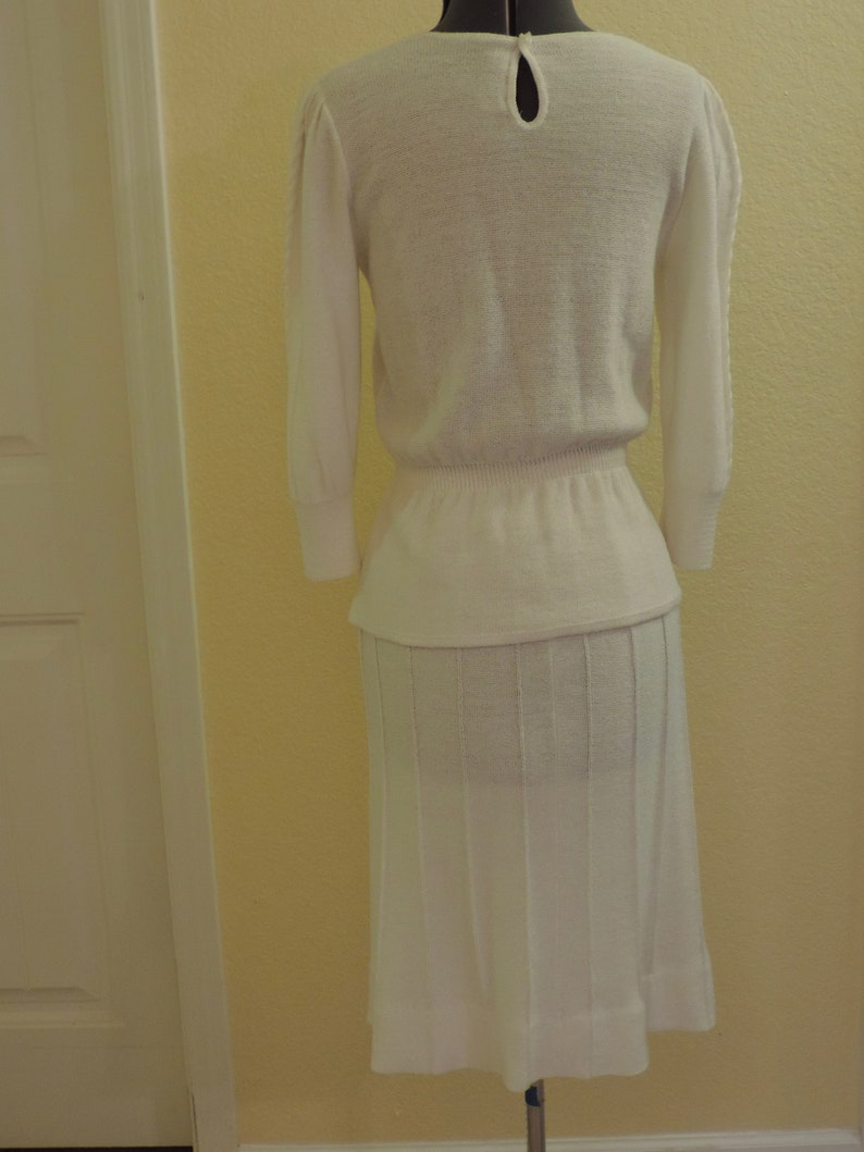 Vintage Creme knit skirt suit Savion by Ignacy Feuer casual wedding,
