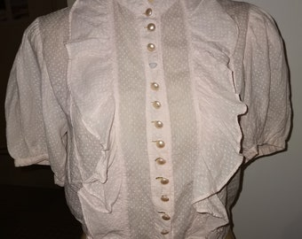 Darla Pink Sheer Mesh Burlesque Basque Corset Top with Heart Pasties Showgirl Vintage Retro