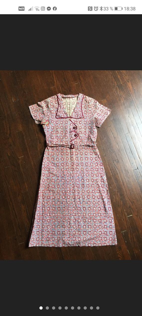 Vintage 1930s feedsack cotton dress Size S M
