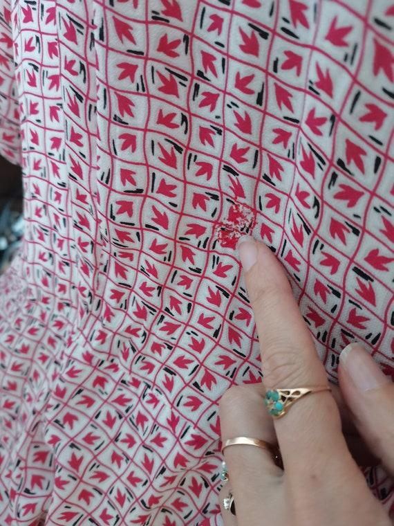 Vintage novelty print 1940s dress Size L XL - image 6