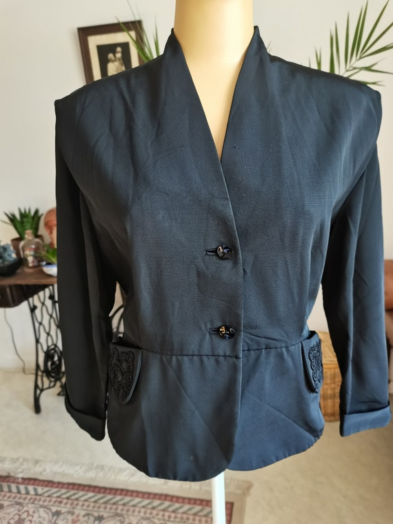 Vintage 1940s  black blouse  jacket soutache beade