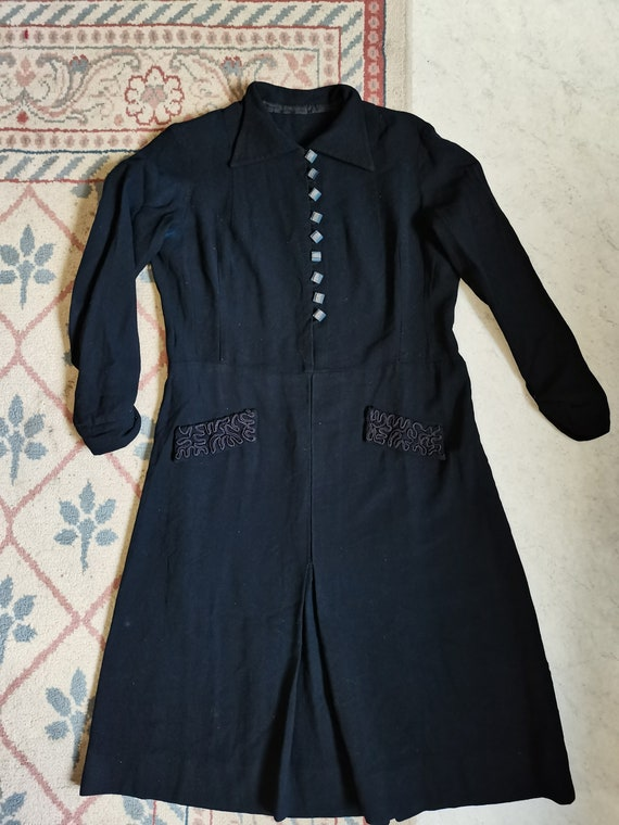 Vintage 1930s wool dress art déco soutache Size L