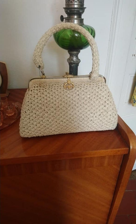 Vintage 1950s 1960s raffia bag