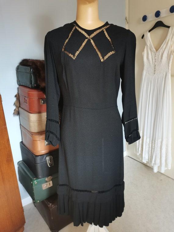 Vintage black 1930S dress Size  M L