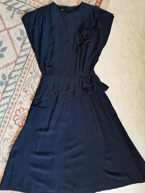 Vintage 1940s rayon navy blue dress Size XS S