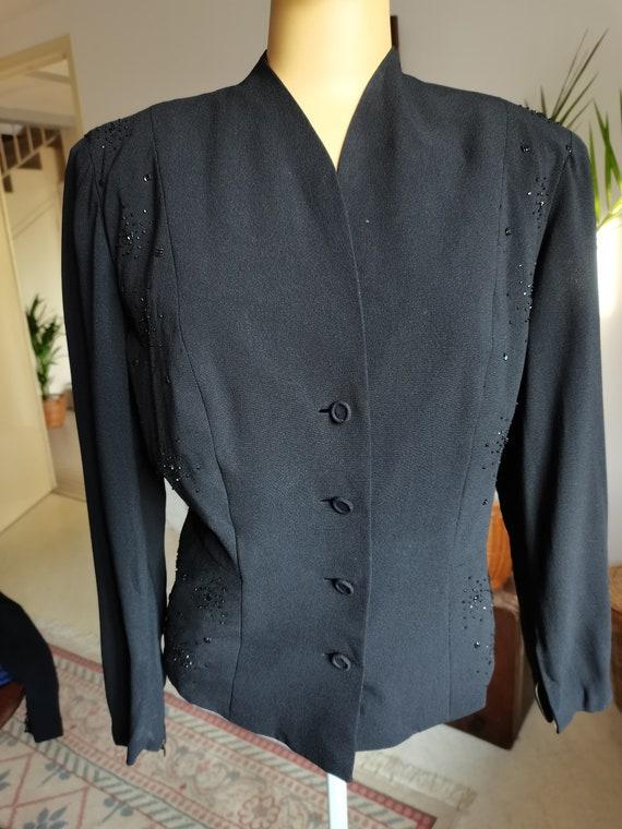 Vintage 1940s  black blouse  jacket soutache beade