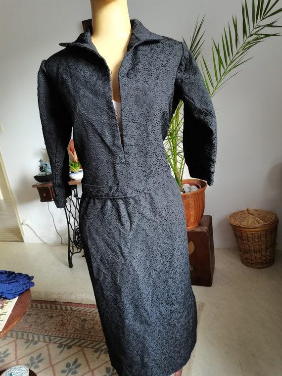 Vintage 1940s black dress Size XL XXL