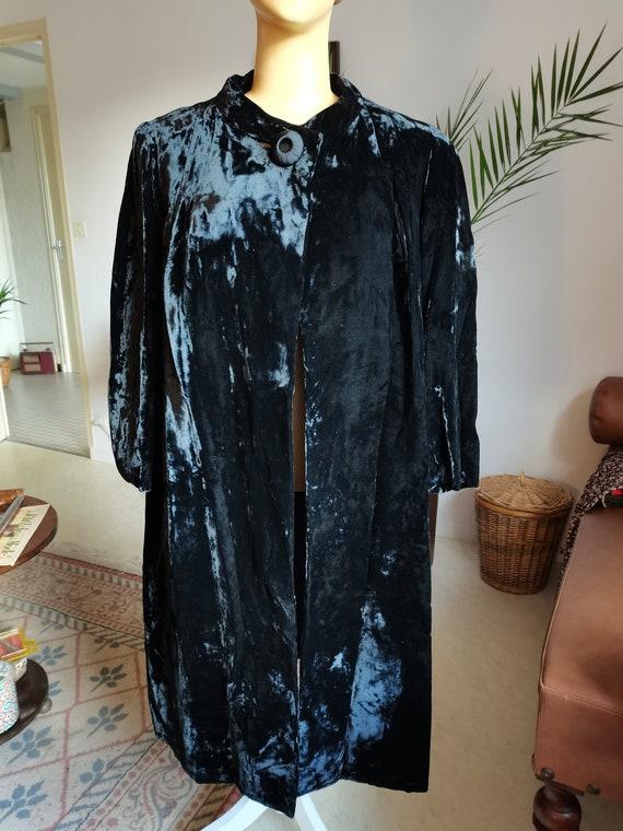 Vintage 1940s 1950s swing velvet coat Size L XL