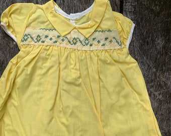 NOS Vintage Yellow Baby Girl 12mos. Dress
