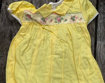 NOS Vintage Yellow  Baby Girl 9mos Dress