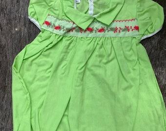 NOS Vintage Green Baby Girl 18mos Dress