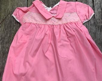 NOS Vintage Pink Baby Girl 12mos Dress