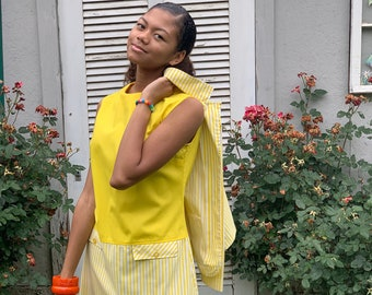 1960's Sears Jr. Bazaar Yellow and White Striped Sleeveless Mini Dress and Matching Jacket