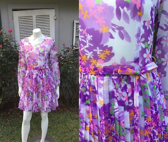 Pleated Purple People Pleaser Flower Power Dress