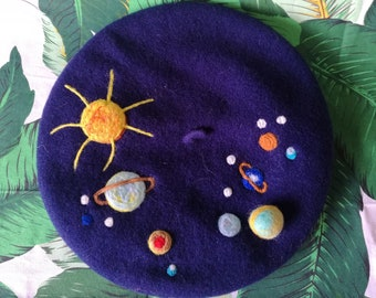 Beret ~ Galaxy Planets Solar System ~ Felted Wool Hat Women | Christmas Gift for Mom | Gift for Her