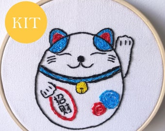 Cat Embroidery Kit ~ Modern DIY Embroidery Kit with Pattern