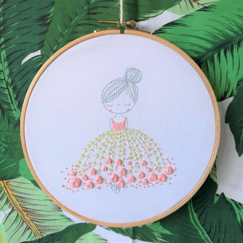Floral Ballet Girl Hoop Art Home Wall Decor Hand Embroidered Stitched Art
