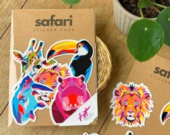 Safari - sticker pack - set of 5 animal stickers - tucan - rhino - giraffe - lion - hippo - sticker - handmade - colorful sticker - safari