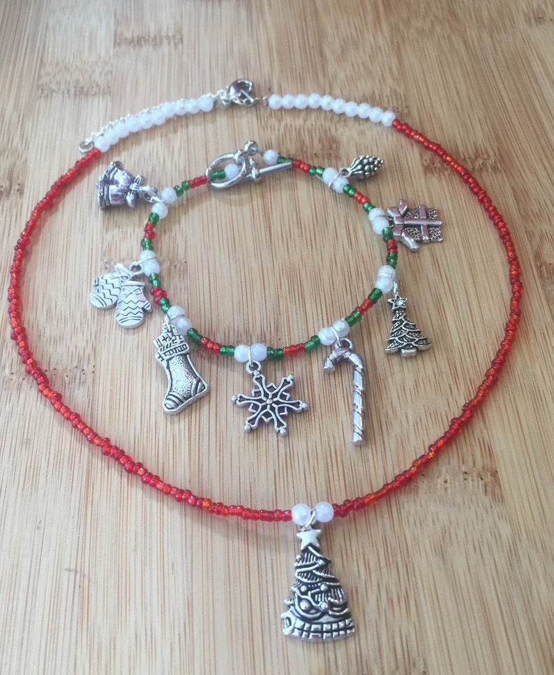 Bracelet /& Necklace Silver Charms Beaded Necklaces Holiday Necklace Bracelet Necklace Set Beaded Necklace Christmas Necklace