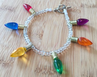 Holiday Light Bulbs beaded bracelet