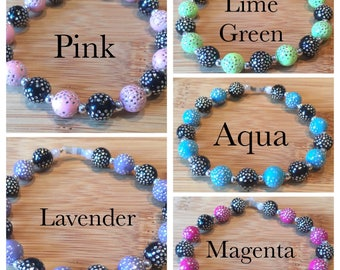Elastic beaded bracelet Black with choice of secondary color accented witb rhinestones