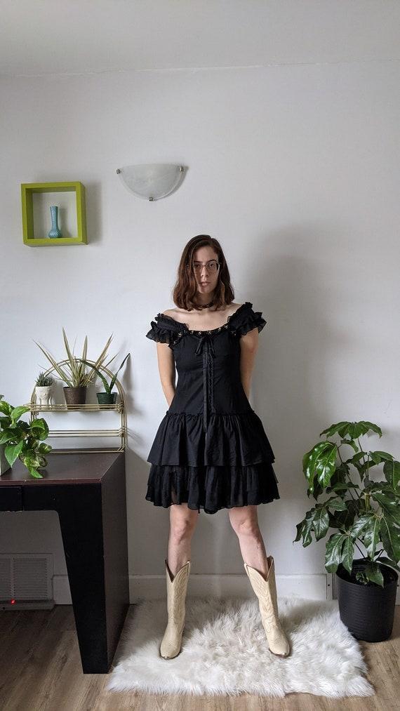 Black Tiered Corset Dress
