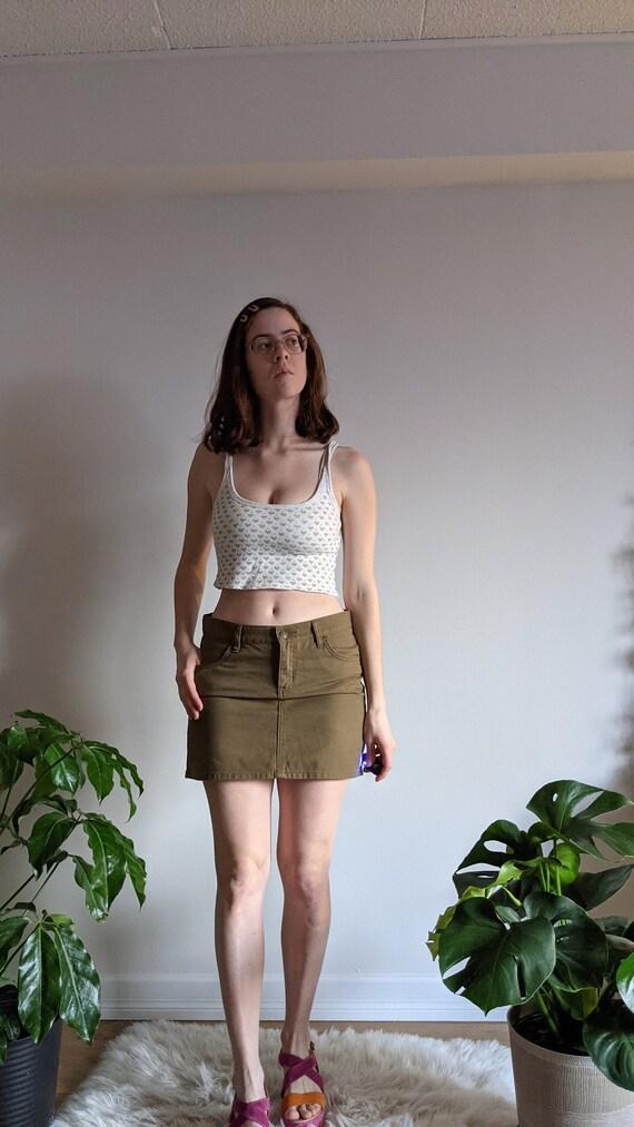 Green/Brown Mini Denim Skirt Y2K Vintage Buffalo