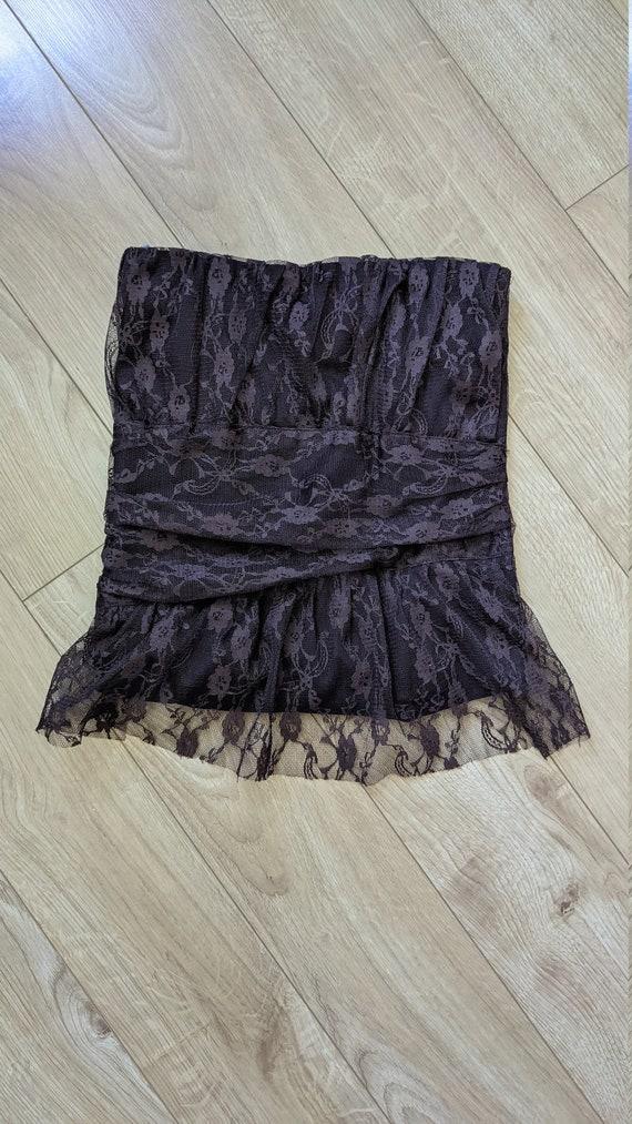 Brown Lace Corset Tube Top Vintage Y2K Costa Blan… - image 3
