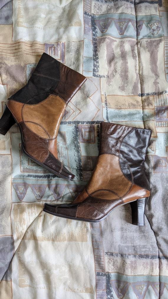 Liz Claiborne Kelso Patchwork Box Toe Boots 90s Vi