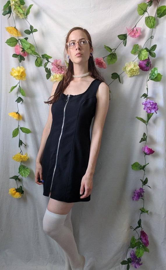 Black Mini Dress With Exposed Zipper 90s