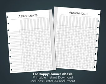 HAPPY PLANNER Inserts, Assignment Tracker, Teacher, Happy Planner Classic, Printable Planner, Mambi, Create 365, Printable Planner Kit