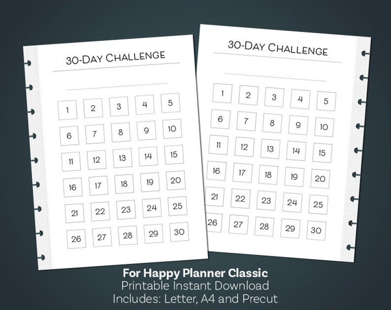 image regarding 30 Day Challenge Printable identified as 30 Working day Concern Printable, 30 Working day Practice Tracker, Clic Delighted Planner Printables, The Delighted Planner Inserts, Minimalist Planner
