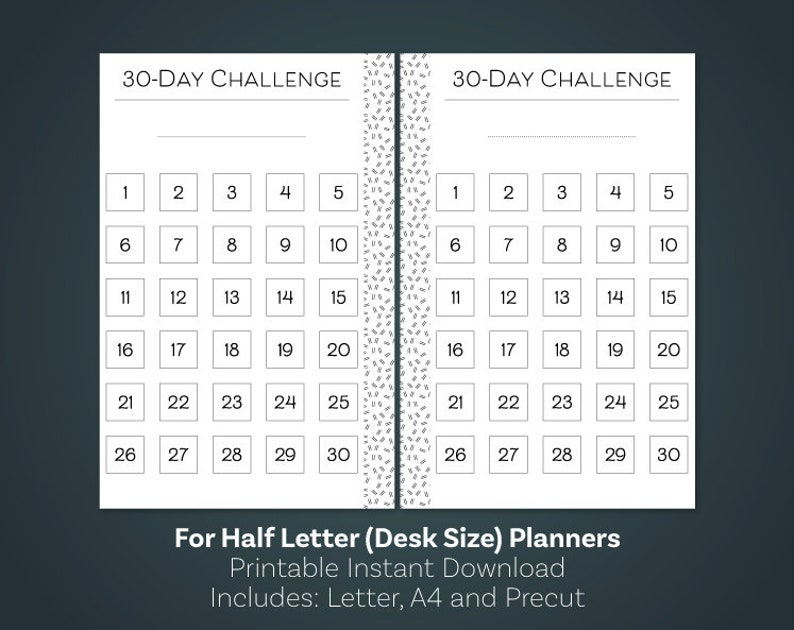 photo regarding 30 Day Challenge Printable named 30 Working day Dilemma Printable, 30 Working day Routine Tracker, 50 percent Sizing Planner, 50 % Measurement Inerts, 50 percent Letter Planner Inserts, 50 percent Letter Printable