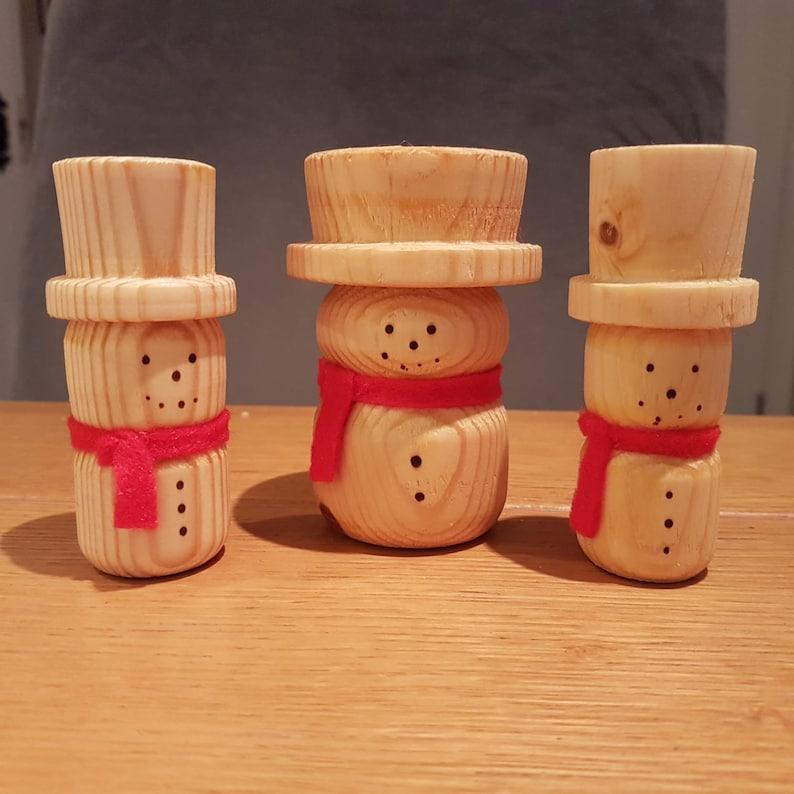 Handmade Wooden Snowmen image 0