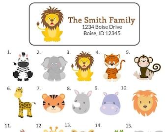 Safari Return Address Label BD107 Boy Zoo Address Label Zoo Animal Return Address Label Giraffe Lion Elephant Wild Animals Label