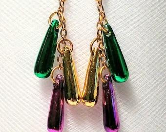 Long drop dangle Mardi gras acrylic bead earrings hung on a gold colored chain green gold purple lightweight