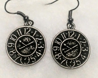 Antique silver colored clock face charm earrings