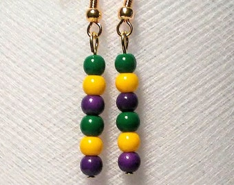Mardi gras small glass bead lightweight earrings in purple green and gold
