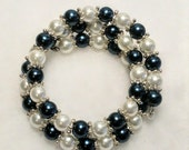 Blue and white pearl bead double wrap stainless steel memory wire bracelet trendy new fashions adjustable elegant beautiful classy moms love
