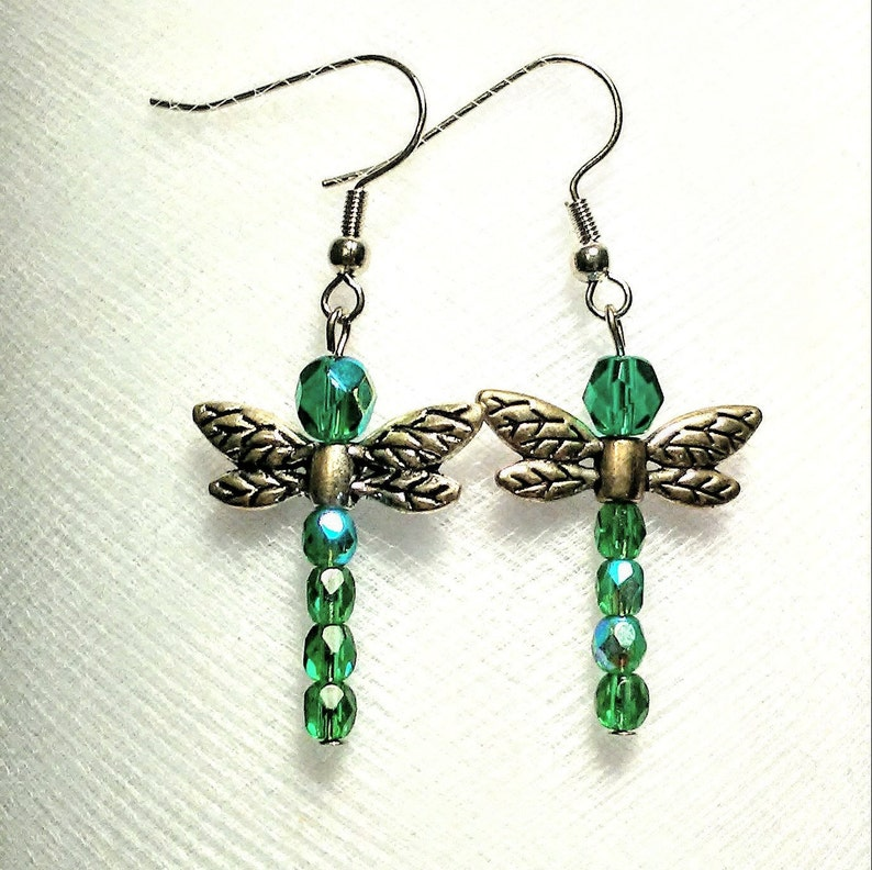 Dark green Czech glass bead dragonfly earrings with silver plated wings good luck bugs insects picnics kids fun cute long lightweight trendy