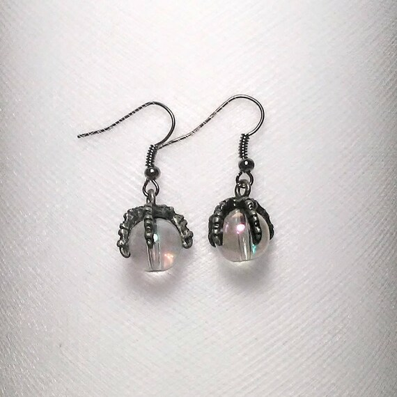 Clear With Bronze Hook Unique Glass Crystal Ball Dangle Earrings