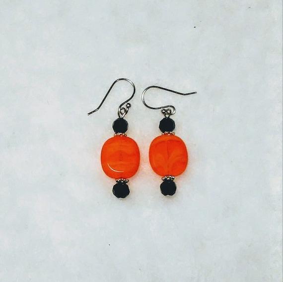 Halloween Czech flat glass orange and black earrings and Cincinnati NFL  football team color Bengals sports fans trendy new fashion beautiful