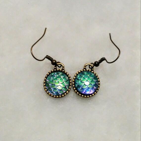 Gunmetal Lever Back Earrings Choice of Colours Choose Colour Mermaid Scale Earrings Iridescent Mermaid/'s Tail Drop Earrings