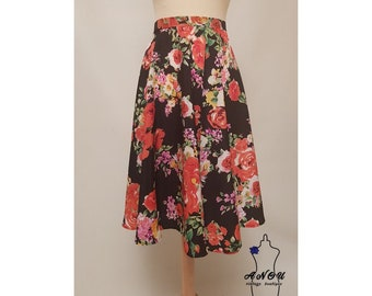 Covington Petite Womens Red Floral Print Skirt Above The Knee Elastic Waist
